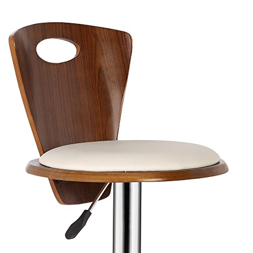 Armen Living LCSEBACRWA Seattle Barstool in Cream Faux Leather, Walnut Wood and Chrome Finish by Armen Living (Image #6)