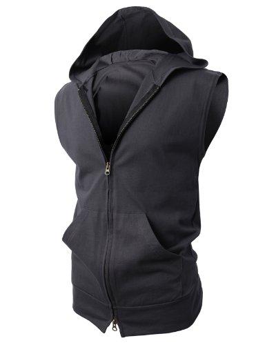 H2H Mens Fashion Slim Fit Lightweight Sleeveless Hoodies