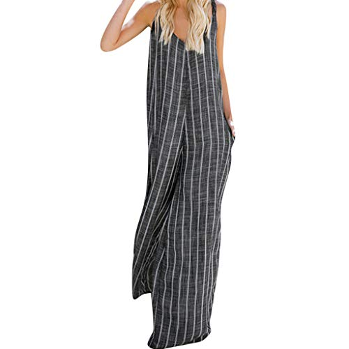 Women's Rompers Elegant Striped Cotton Jumpsuit Loose Plus Size Trousers Wide Leg Playsuit with Pockets Black