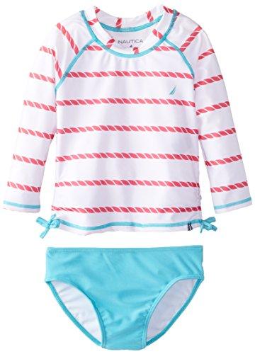 Nautica Little Girls' Rope Stripe Print Rashguard Swim Set, Sail White, 4
