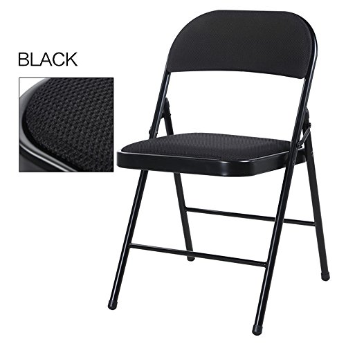 Breathable dining chair / backrest computer chair / casual simple folding chair / dormitory chair / conference chair / portable folding chair / home dinette / five colors optional / ( Color : Black ) by Folding Chair