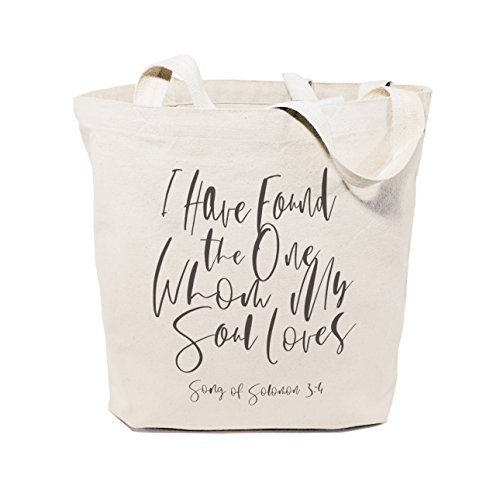 The Cotton & Canvas Co. I Have Found the One Whom My Soul Loves, Song of Solomon 3:4 Beach, Shopping and Travel Resusable Shoulder Tote and Religious Bible Verse Handbag ()