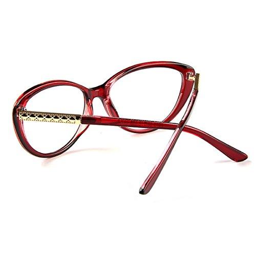 D.King Women Fashion Cat Eyeglasses Frames Clear Lens 56mm Red