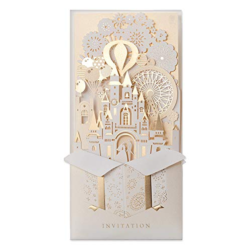 JOFANZA 50 Pieces Laser Cut Wedding Invitations Cards 3D Fairy Gold Gilding Bride and Groom in Castle Invitation for Engagement Bridal Shower Anniversary Marriage Mr Mrs Invites (Set of 50pcs) (Beauty And The Beast Bridal Shower Invitations)