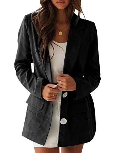 (Ofenbuy Womens Casual Long Blazer Loose Fit Long Sleeve Linen Cardigan Jacket Boyfriend Blazers Black)