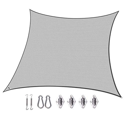 Cool Area SS-18514-153B Shade sail, 16 5 x 16 5 with hardware Silvery