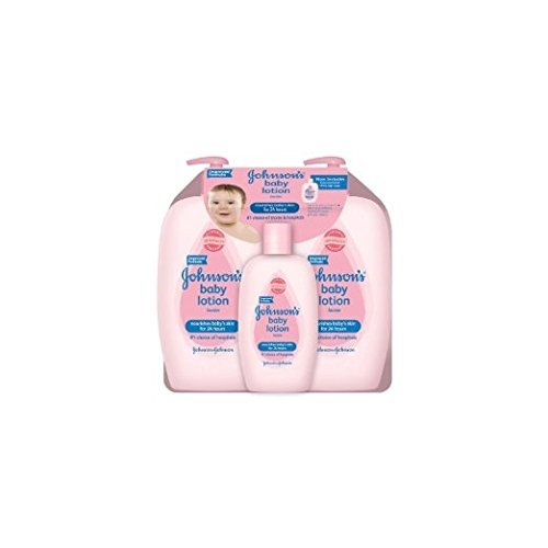 Johnson's Baby Lotion (Pack of 3) 2-27 Ounce & 1-9 oz Convenient bottle (total 63 fl oz) by Johnson