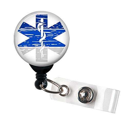 (Star of Life Distressed - Retractable Badge Reel with Swivel Clip and Extra-Long 34 inch Cord - Badge Holder/EMT/EMS)