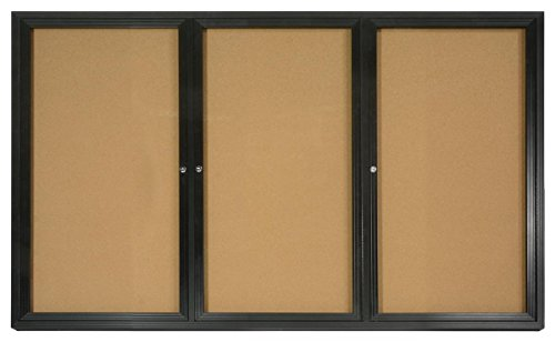 3-Door Enclosed Cork Board, 6' x 4', with Wall-Mount Bracket, 72 x 48 Bulletin Board for Indoor Use, with Black Aluminum Frame (Aluminum Bulletin Enclosed Board Indoor)
