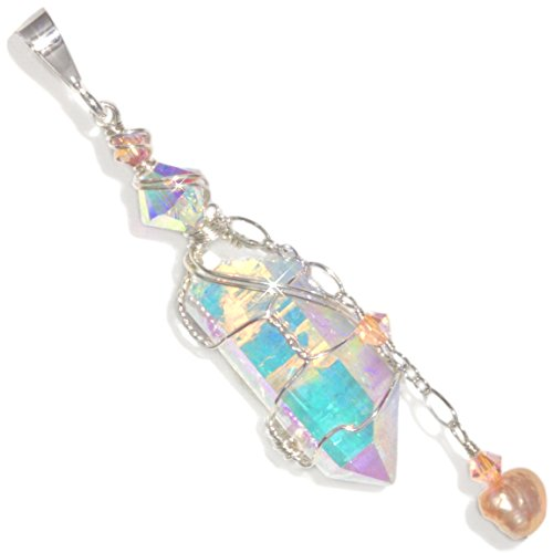 Dichroic Angel Aura Quartz Wire Wrapped Handmade Sterling Silver Pendant By Puppylove