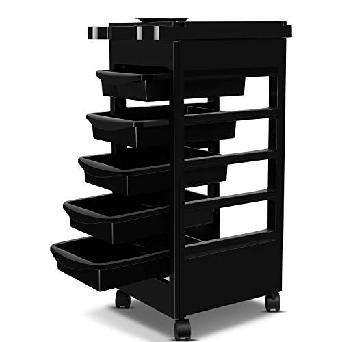 Flexzion Salon Trolley Cart, Spa Utility Carts with 5 Drawers, Service Tray, Rolling Wheels – Hair Styling Storage Station System Organizer Holders for Stylist Hairdresser Makeup Beauty Tool Supplies