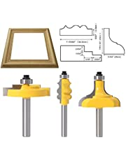 TAIWAIN Router Bit Set 1/4 Inch Shank, Matched Router Bits + 45 Degree Lock Miter Tongue Groove Set, Wood Milling Cutter Drilling Carbide Tool for Door Table Cabinet Shelve Wall DIY Woodwork (GT15)