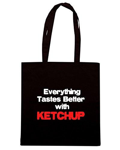 T-Shirtshock - Bolsa para la compra OLDENG00410 better with ketchup Negro