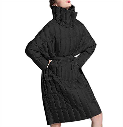 cremallera la outwear chaqueta caliente abajo de correa las de abrigo del mujeres la señoras Las viento de el a Mantenga prueba destacan algodón black de cuello engrosamiento con la de SqRY06
