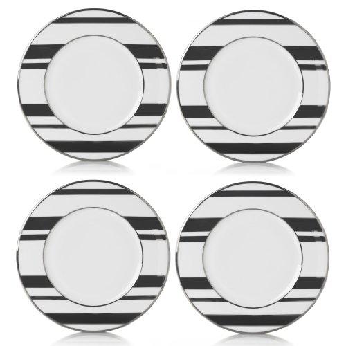 Mikasa Color Studio Black-Platinum Stripes Set of 4 Accent Plates