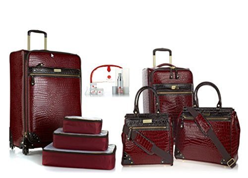 Samantha Brown Burgundy 8 piece Luggage Set 28'', 21'' Spinner, Dowel Bags, Cubes by Samantha Brown