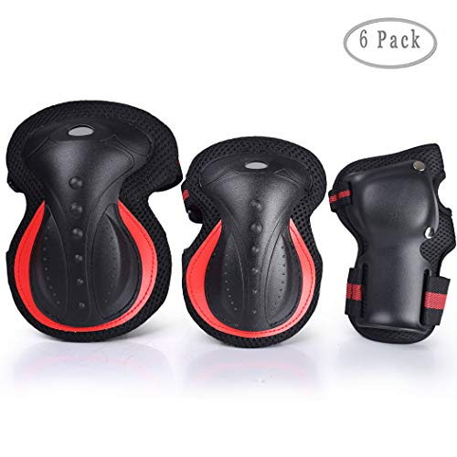 SZ-JIAHAIYU Kids/Youth Knee Elbow Pads and Wrist Guards Outdoor Sports Protective Gear BMX Ski Skateboard Bicycle Rollerblading Scooter Motocross Unisex (Black red, 6-15 Years)