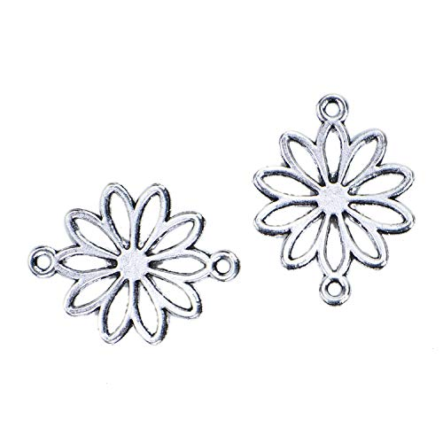 (Monrocco 100 Pcs Antique Silver Alloy Metal Daisy Flower Charms Connectors Bulk for Bracelets Jewelry Making)