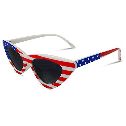 Womens Cat Eye American Flag Sunglasses - USA America ()