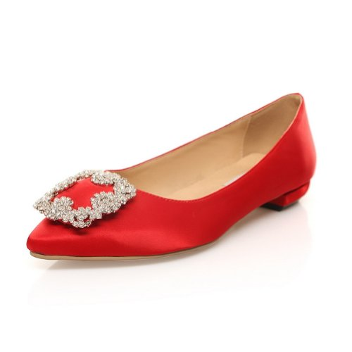 WeenFashion Women's Pointed-toe Dermal Satin Face Low Chunky Flats Pumps with Candy Color Metal Ornament, Red, 8 B(M) US