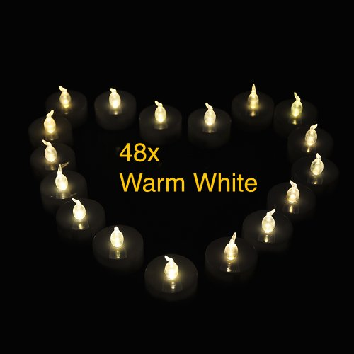 UPC 887898277215, Weanas 48pcs LED Tealight Candle Light Warm White with Timer Timing Replaceable Coin Battery Unscented Flickering Flameless Four Dozen Lot 48 for Emergency Christmas Birthday Wedding Party