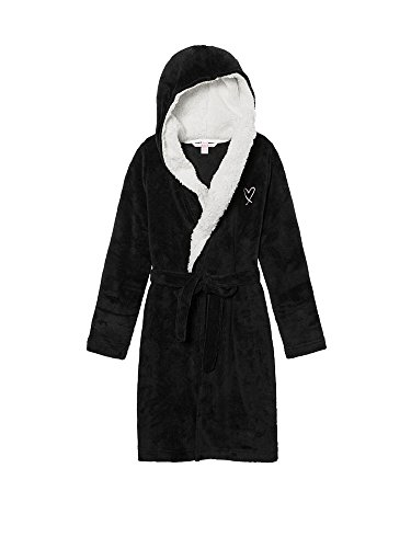 Victoria's Secret Monogrammed Short Hooded Plush Robe Black Heart - Fair Pacific Logo