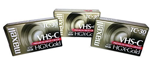 Maxell 203090 VHS-C TC-30 HGX Gold Camcorder Videocassette (3-Pack)