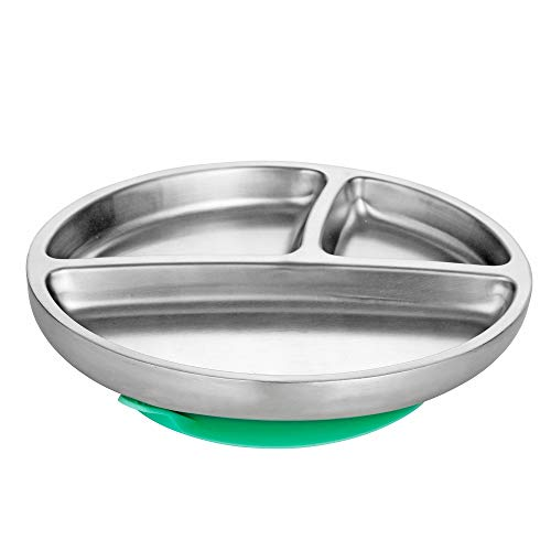 Avanchy Stainless Steel Toddler Feeding Divided Plate + Silicone Suction, Infant, Kid or Child Plates. 18/8, BPA Free, BPS Free, Lead Free and Phthalate Free. (Green)