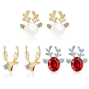 QXFQJT 3 Pairs Christmas Antlers Earring Shiny Hypoallergenic Reindeer Crystal Pearl Stud Earrings Xmas Gift (Gold)