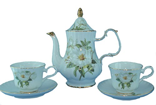 Green Pastures Wholesale Magnolia Porcelain Tea Set, 9-Inch by 10-Inch (Porcelain Magnolia)