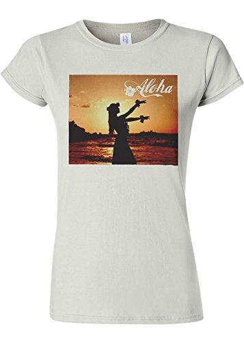 招待サドルアンタゴニストAloha Hawaii Hula Girl Novelty White Women T Shirt Top-S