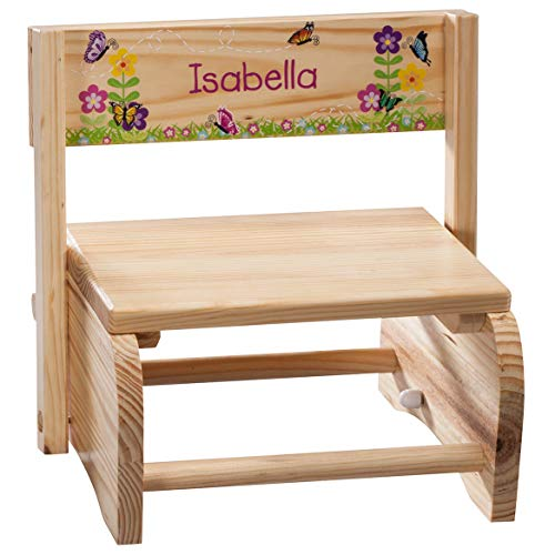 Fox Valley Traders Personalized Children's Butterflies & Flowers Step Stool-Unique Fun Gift for Kids-Customize with Child Name-Present