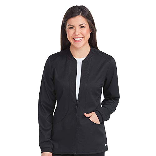 Med Couture Touch Zip Front Warm Up Scrub Jacket for Women, Black, Medium