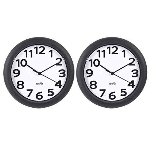 HIPPIH 2 Pack Silent Wall Clock 10 Inch Non-Ticking Battery Operated Round Clocks – Easy to Read for Office Kitchen Bedroom Living Room Classroom