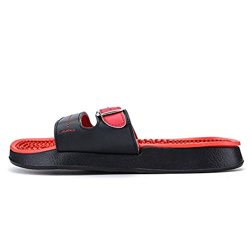 piscina bottoni ed Wear per Rosso Dimensione Anti Slipper Beach Rosso Moda Color Decorazione interna metallo da Shock Casual Thick Massage EU 2018 shoes Mens Scivoli uomo esterna skid 42 HwSqwI46T