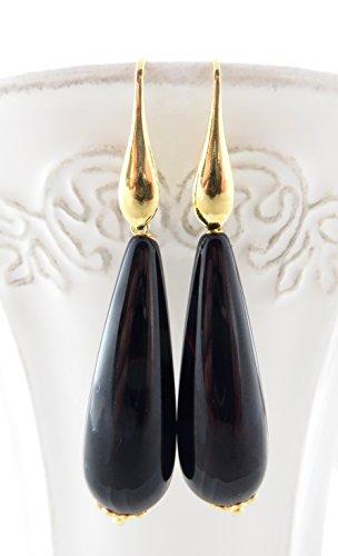 Silver Italian Agate - Black agate earrings with gold plated 925 sterling silver, long drop earrings, dangle earrings, italian jewelry, gemstone jewelry, women jewelry
