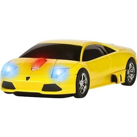 Roadmice Lamborghini Murcielago Optical Wireless Radio Frequency USB 800  DPI Scroll Wheel Car Mouse, Yellow
