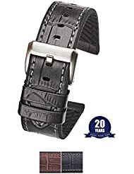 Genuine alligator grain leather watch band with silicone lining - Black - 22 mm