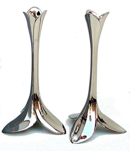 - Pair of Shabbat Candlesticks, Tulip Design