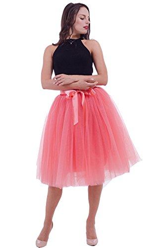 SCFL Jupe Tutu Femme Jupe Midi Tulle 7 Layers Petticoat Underkirt avec ceinture lastique pour fte de mariage Wassermelonenrot