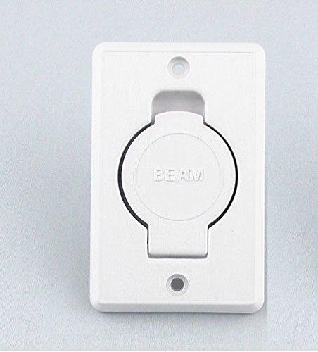 Central Vacuum White Inlet Valve for Beam Central Vac - White Round Door (Inlet Valve Door Round)