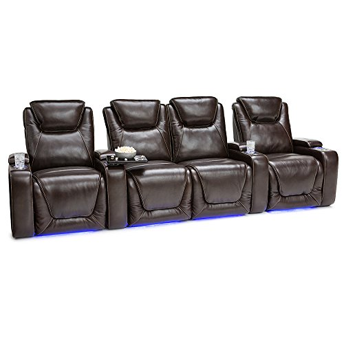 Seatcraft Equinox Home Theater Seating Power Recline Leather (Row of 4 Loveseat, Brown) For Sale