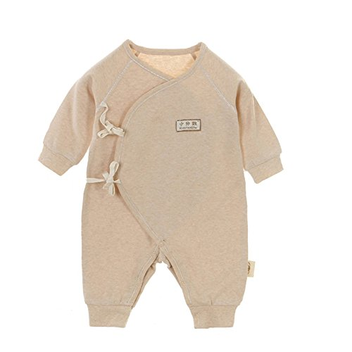 Fairy Baby Unisex Newborn Organic Cotton Belt Butterfly Slant Opening Romper,0-3M,Coffee Feet ()