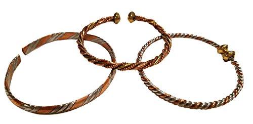 Handmade in Kenya (Set of Three) Copper African Cuff Bracelets Bangles