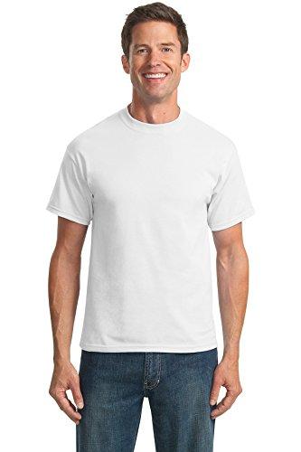(Port & Company Men's Tall 50/50 Cotton/Poly T Shirts 2XLT White)