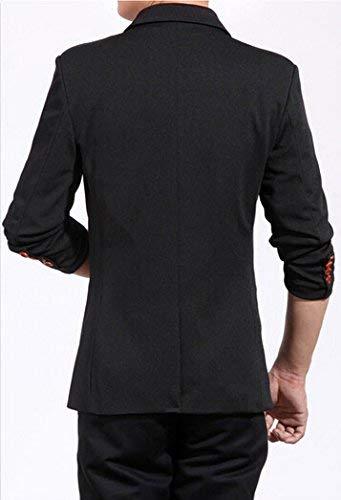 1 Hommes Automne Slim Men Loisirs Costume Longues Casual Printemps Essentiel Fit Bouton Business Schwarz Vestes Revers Manches Blazer 11qwrv7