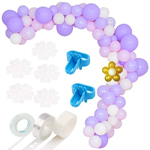 122 PCS Balloon Arch Garland Kit-Pink,Purple,White&Gold Balloons Garland Decorating Strip Kit for Wedding,Birthday,Baby Shower,Graduation Party Decorations - Kit Purple