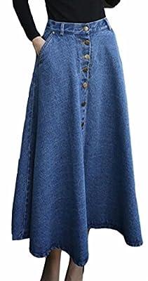 Xswsy XG Womens Stylish High Waist A-Line Button Denim Flared Maxi Skirt