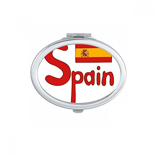 DIYthinker Spain National Flag Red Pattern Oval Compact Makeup Mirror Portable Cute Hand Pocket Mirrors Gift by DIYthinker
