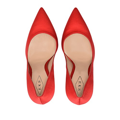EKS Damenmode Spitzschuh Stiletto Absatzschuhe für Party Rot-Seide